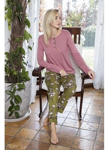 Aydoğan Kadın Poplin Altı Çiçek Desenli Üstü Düz Yakası Düğmeli Pijama Takımı Renkli